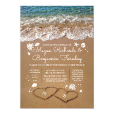 Hearts In The Sand Summer Beach Wedding Card at Zazzle