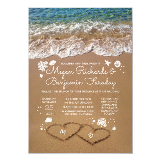 Hearts In The Sand Summer Beach Wedding Card Gallery