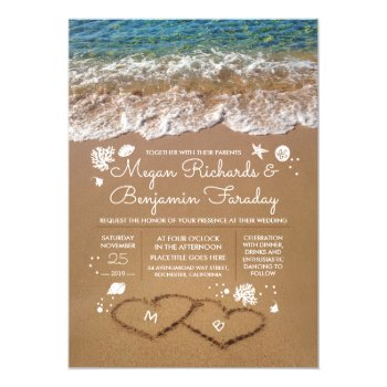 Hearts In The Sand Summer Beach Wedding Card by jinaiji at Zazzle