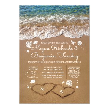 Beach Themed Hearts in the Sand Summer Beach Wedding Card