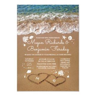 Hearts in the Sand Summer Beach Wedding Invitation