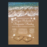 """Hearts in the Sand Summer Beach Wedding Invitation<br><div class=""""desc"""">Fully customizable beach wedding invitation with the bride&#39;s and groom&#39;s initials in the sand hearts. Please push the &#39;customize&#39; button to edit the font,  move all the seashells,  sand dollars,  sea pearls etc.</div>"""