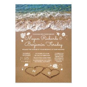 Superb Hearts In The Sand Summer Beach Wedding Invitation
