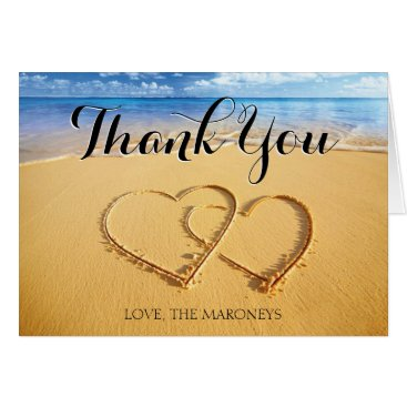 Beach Themed Hearts in the Sand Thank You Card