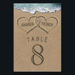 """Hearts in the Sand Wedding Table Number Cards<br><div class=""""desc"""">Hearts in the Sand Wedding Table Number Cards -  features hearts in the sand that you can &quot;carve&quot; or &quot;write&quot; your own names into.</div>"""