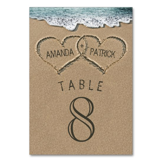 Hearts in the Sand Wedding Table Number Cards
