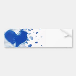 Hearts in the sky car bumper sticker