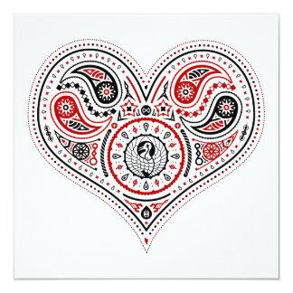 """Hearts - Invite Card (White/Red/Black) 5.25"""" Square Invitation Card"""