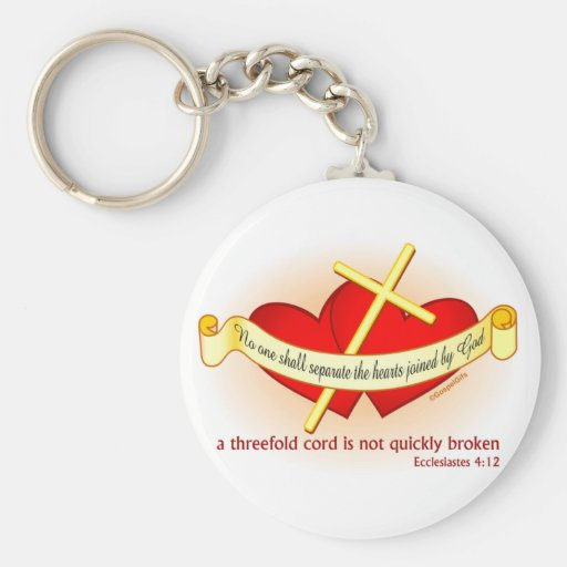 Hearts joined by God Christian gift Keychain