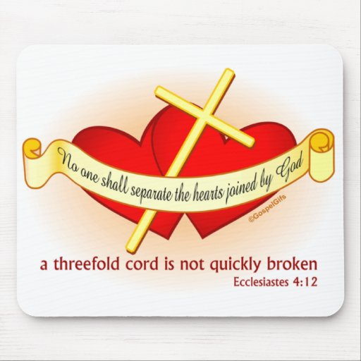 Hearts joined by God Christian gift Mousepads