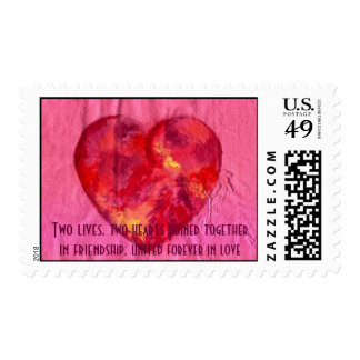 Hearts joined in Love Stamp