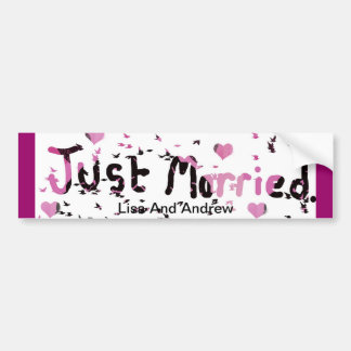 """Hearts ""Just Married Car Bumper sticker""*"