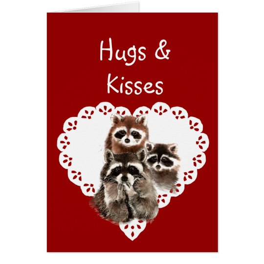 Hearts & Kisses from Kids with Raccoon Valentine Card