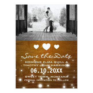 Hearts & Lights Rustic Wedding Save the Date Cards