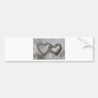 Hearts Linked in the Sand Bumper Sticker