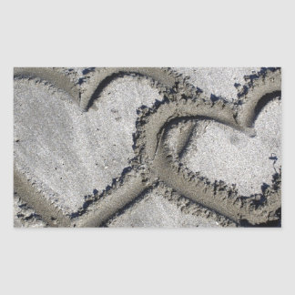 Hearts Linked in the Sand Rectangular Sticker