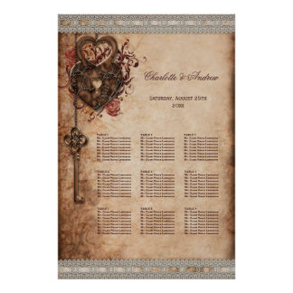 Hearts Lock and Key Wedding 9 Table Seating Chart
