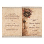 Hearts Lock and Key Wedding Ceremony Program Flyer