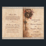 """Hearts Lock and Key Wedding Ceremony Program Flyer<br><div class=""""desc"""">Beautiful, romantic heart lock and key wedding ceremony program with an elegant vintage romance shabby chic style theme - a printed image of classy, classic brass metal hearts, swirls, roses, and a key hanging with a heart shaped lock - on an antique look paper effect with fall / autumn leaves...</div>"""