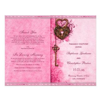 Hearts Lock Key Pink Wedding Ceremony Program Flyer