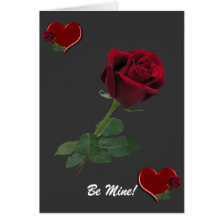 Hearts Long Stem Red Rose Cards