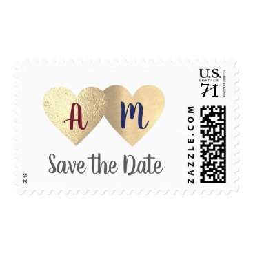 Bride Themed hearts love bride groom initials save-the-date postage