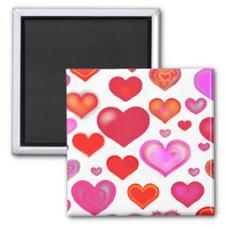 Hearts Love cute drawing eclectic red pink Magnet
