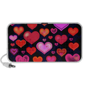 Hearts Love cute drawing pink red white Portable Speaker