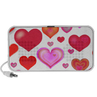 Hearts Love cute drawing pink red white Travelling Speakers