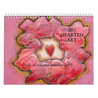 Hearts love fun whimsical contemporary art 2013 calendar