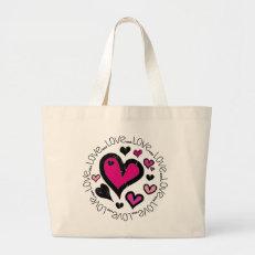 Hearts Love Love Love Tote Bags
