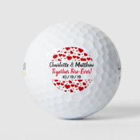 Hearts Love Red Black Typography Cute Favor Golf Balls