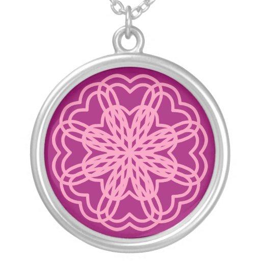 Hearts Mandala Round Pendant Necklace
