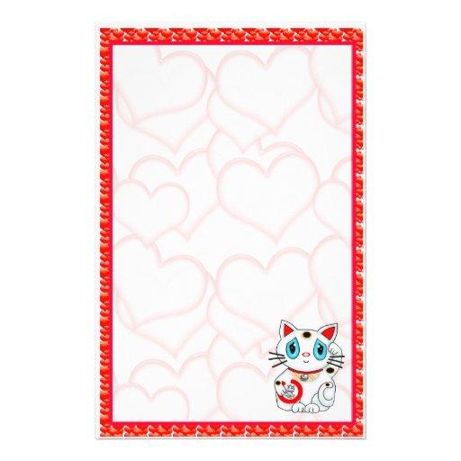 Hearts Maneki Neko Lucky Beckoning Cat Stationery
