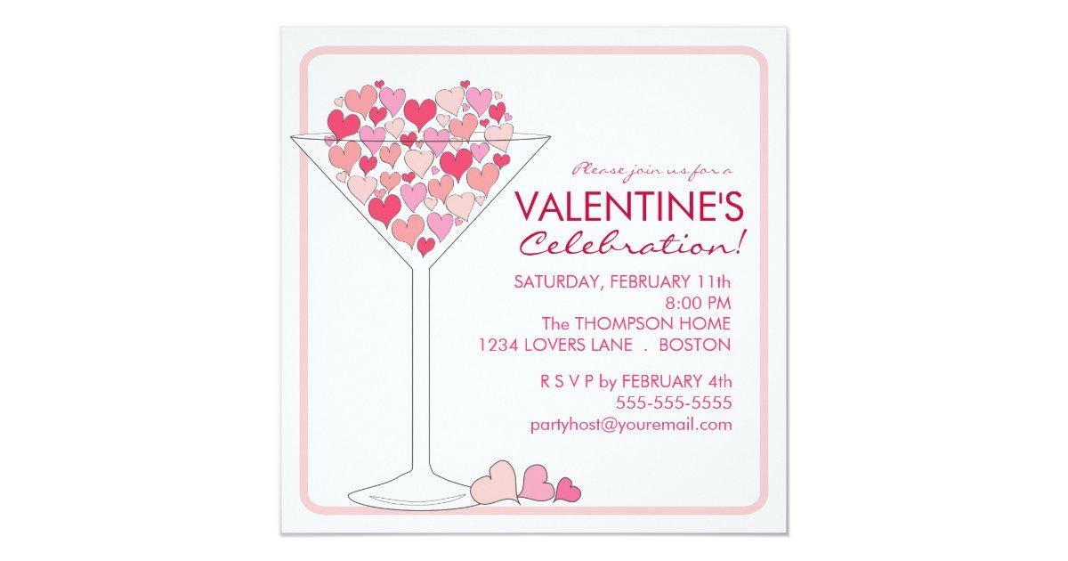 Hearts Martini Valentines Day Party Invitation Zazzle Com