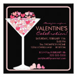 Hearts Martini Valentines Day Party Invitation