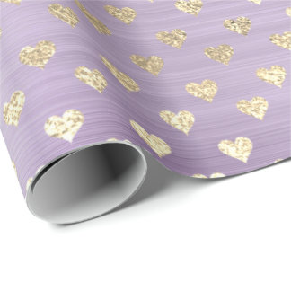 Hearts Metallic Lavande  Purple Blush Gold Faux Wrapping Paper