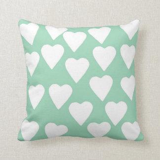 Hearts Mint Pillows