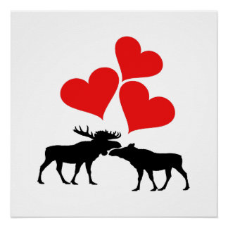 Hearts & Moose Poster