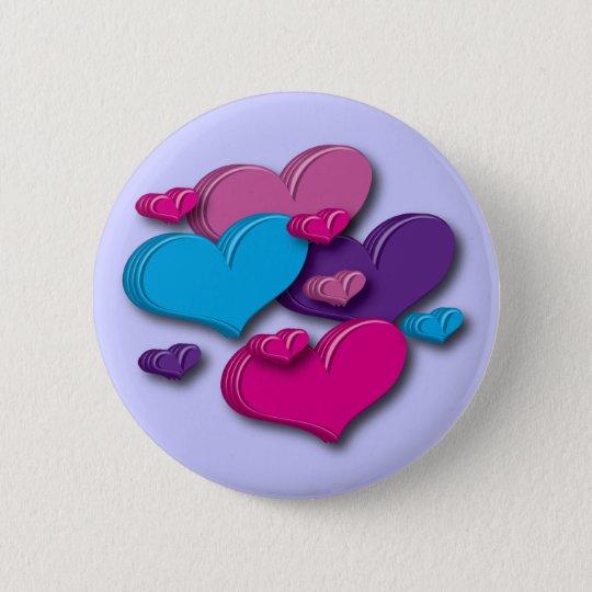 hearts-multicoloured Button