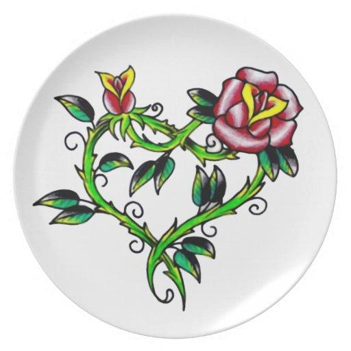 Hearts N Roses Dinner Plates
