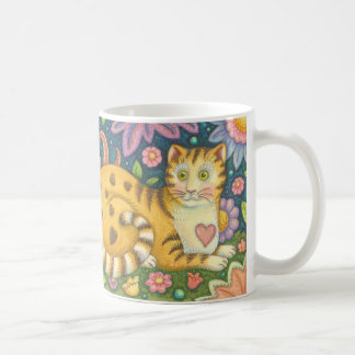 Hearts N' Stripes Tabby CAT Folk Art Mug