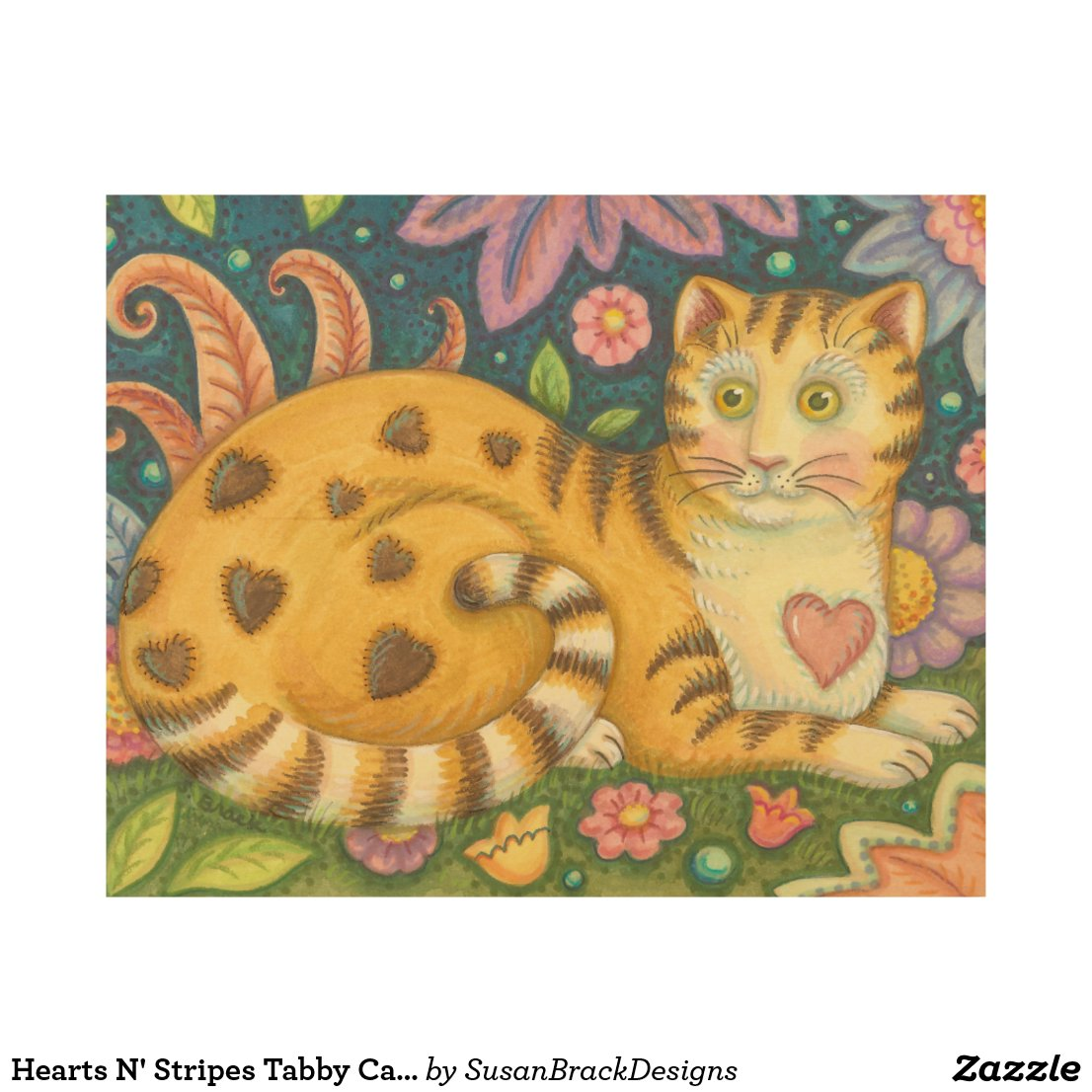 Hearts N' Stripes Tabby Cat Folk Art Wood Print