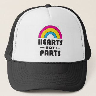 Hearts Not Parts Pansexual LGBT Pride Trucker Hat