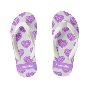 442b3a99d0aad Hearts of Amethyst Tiles Offset Rows Personalized Kid s Flip Flops