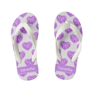 Hearts of Amethyst Tiles Offset Rows Personalized Kid's Flip Flops
