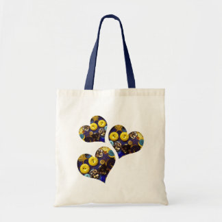 Hearts of Blue and Yellow Buttons Tote Bags