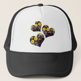 Hearts of Blue and Yellow Buttons Trucker Hat