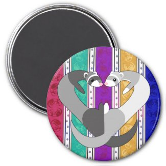 Hearts of Ferret Rainbow Magnet magnet