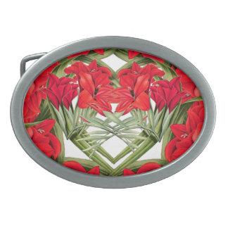 Hearts of Gladiola Flowers Floral Belt Buckle